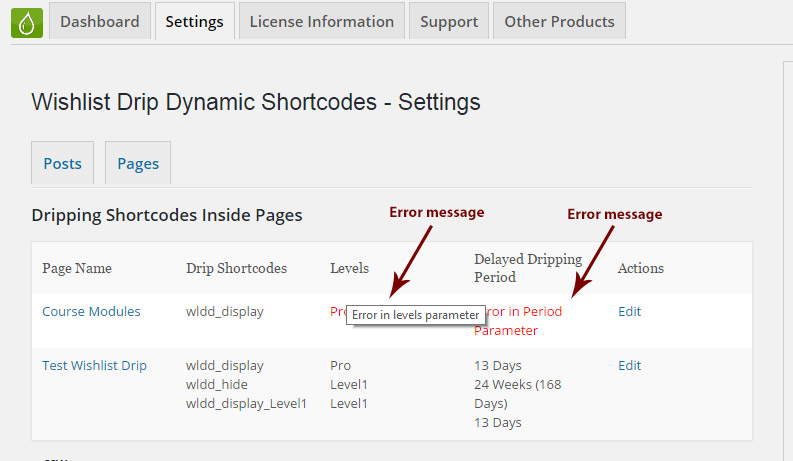 Wishlist Drip Dynamic Shortcodes - Summary Table