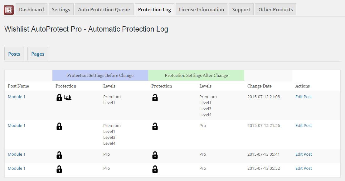 Wishlist Auto Protect Protection Log Table