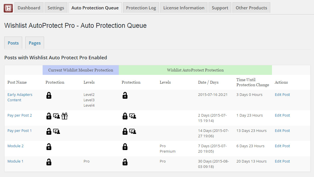 Wishlist Auto Protect Queue Table