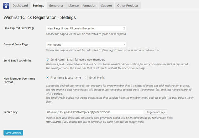 Wishlist 1Click Registration - Settings
