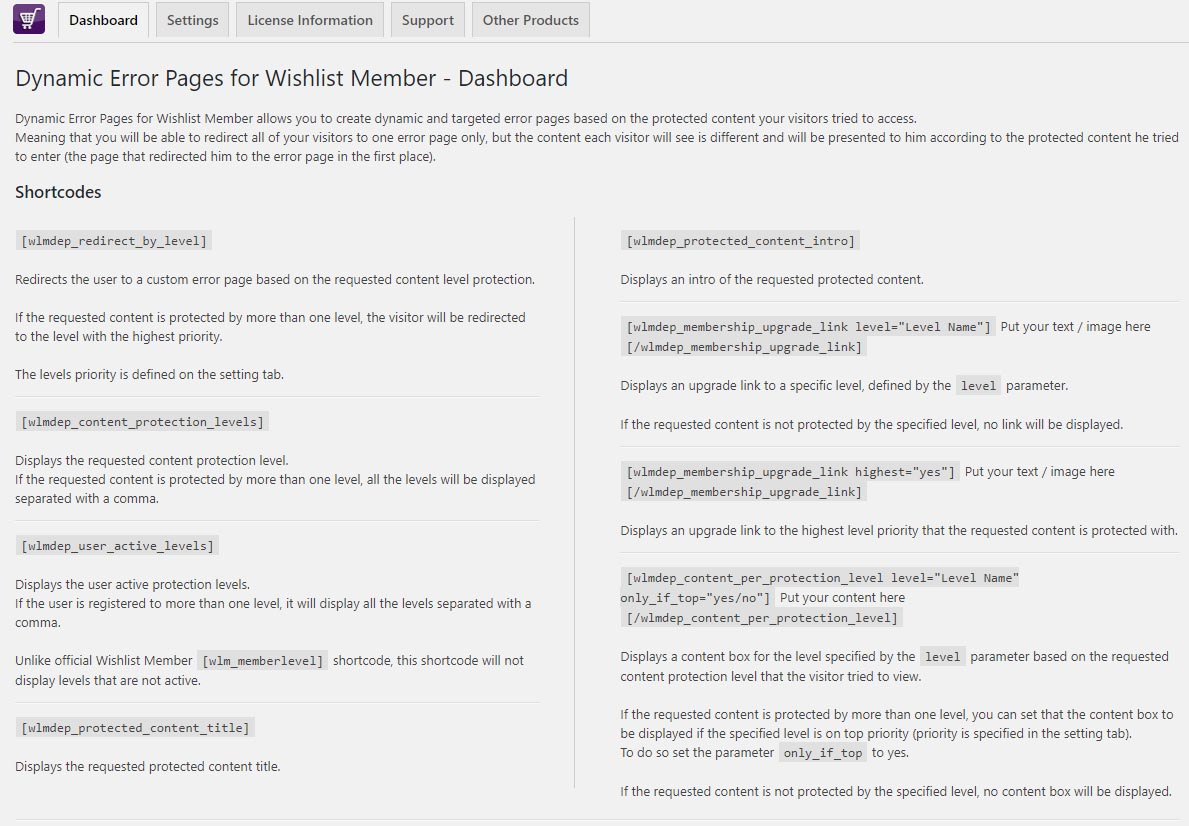Dynamic Error Pages for Wishlist Member - Dashboard