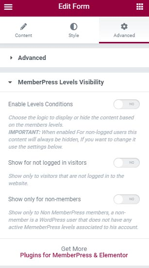 Dynamic Visibility for Wishlist Member & Elementor - Settings