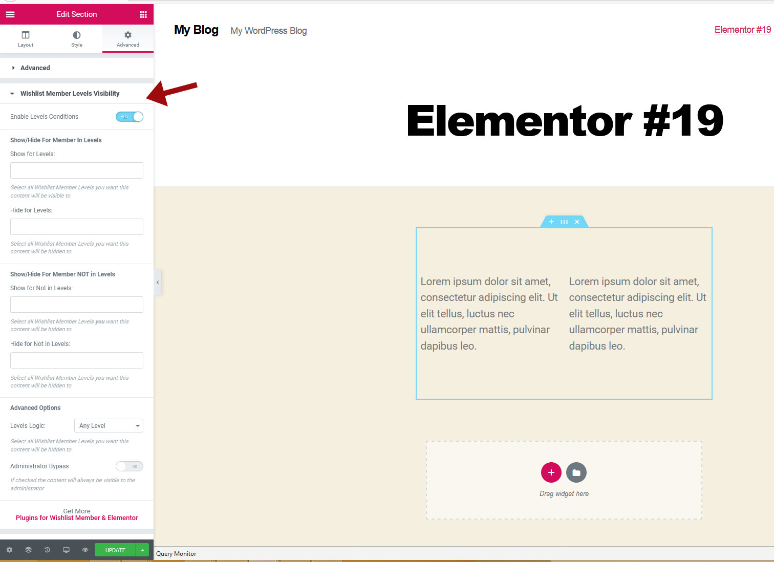 Dynamic Visibility for Wishlist Member & Elementor