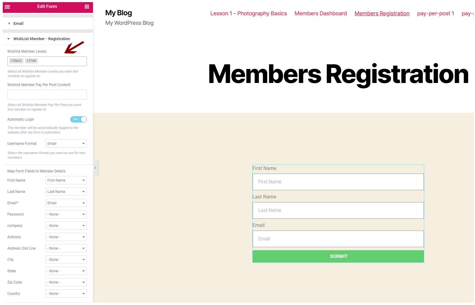 Define WishList Member membership levels (Step #4)