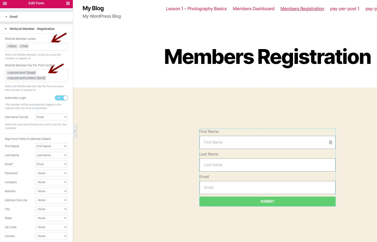 Define WishList Member membership levels and pay-per-post content (Step #4)