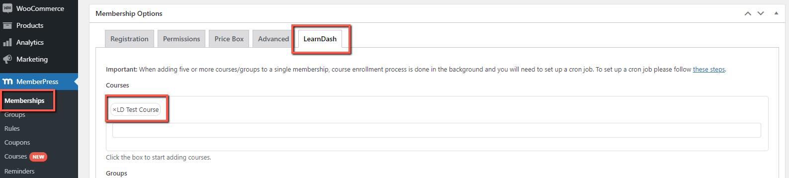MemberPress WooCommerce Plus - LearnDash Integration Step 1