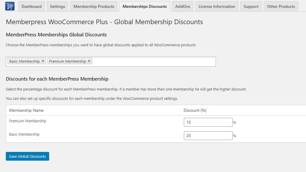 Memberpress WooCommerce Plus - Global MemberPress Memberships Discounts: