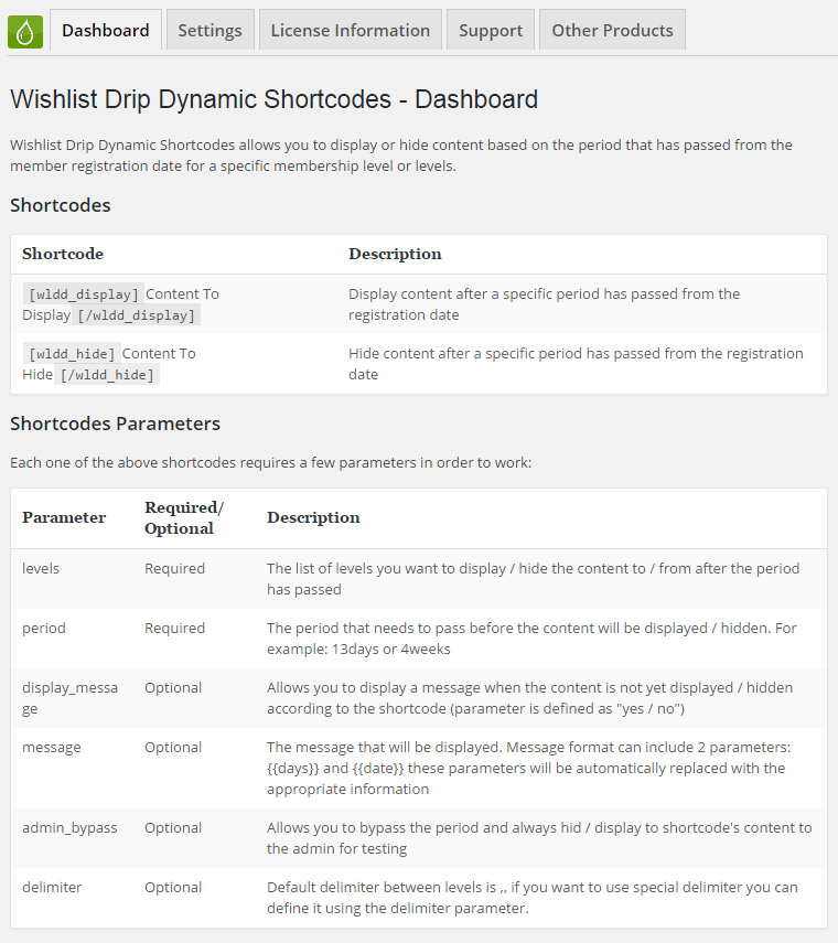 Wishlist Drip Dynamic Shortcodes - Dashboard