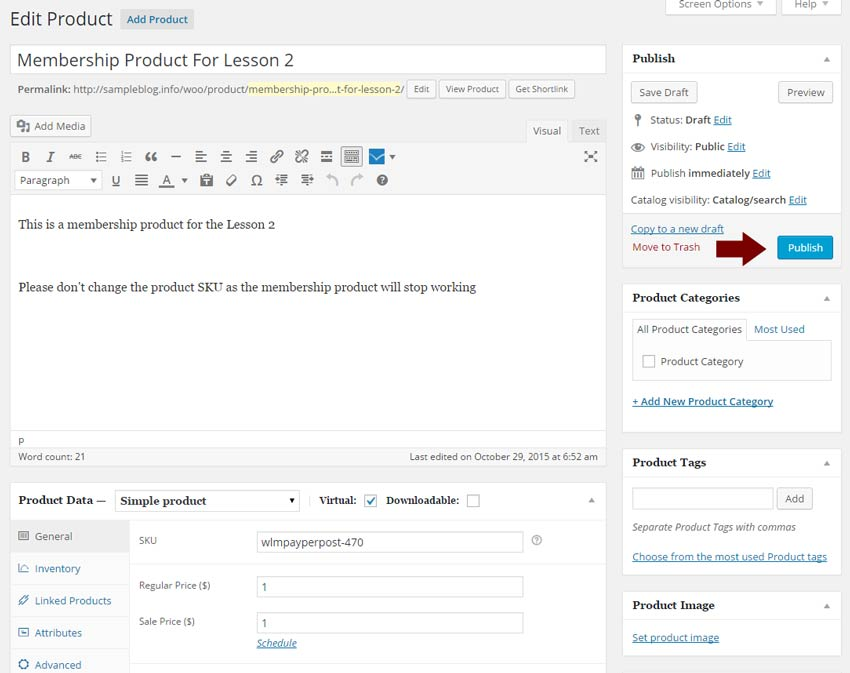 Step #4: Click Edit, define the Product Data settings and content & publish it