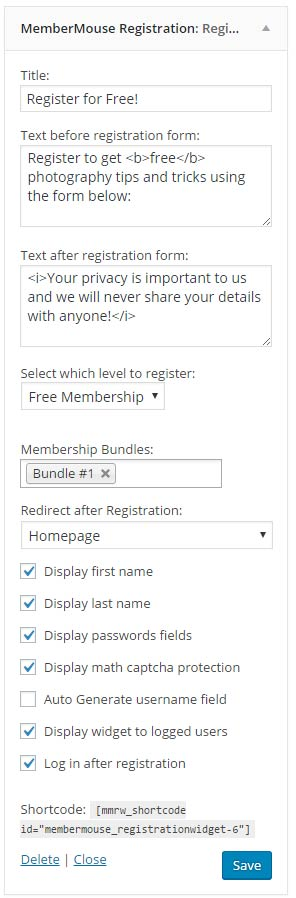 MemberMouse Registration Widget Sidebar (Back-end)
