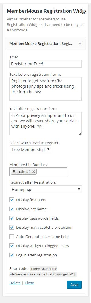 MemberMouse Registration Widget Virtual Sidebar