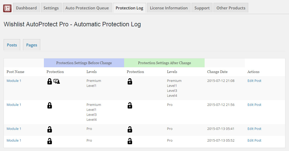 Wishlist Auto Protect Protection Log Table