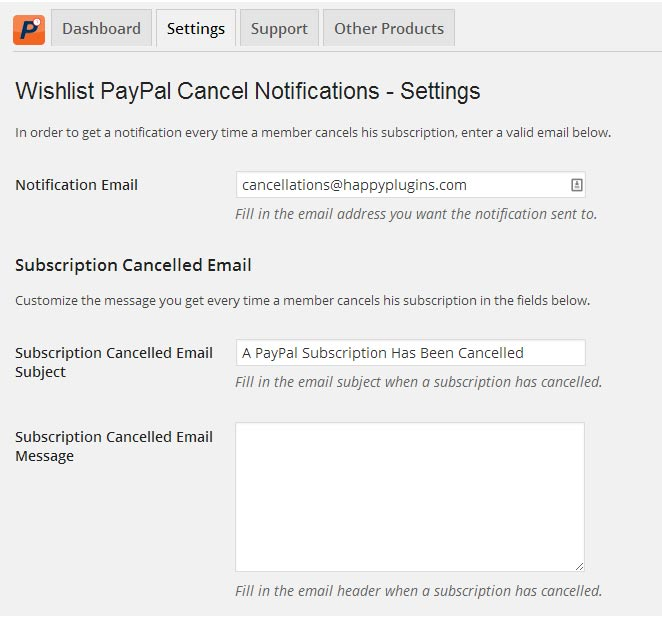 Wishlist PayPal Cancel Notifications Settings