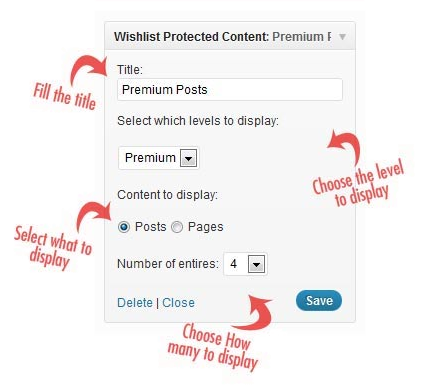 Wishlist Protected Content Widget Back End