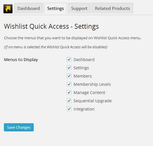 Wishlist Quick Access Back-End