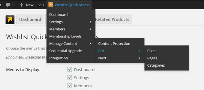 Wishlist Quick Access Front End